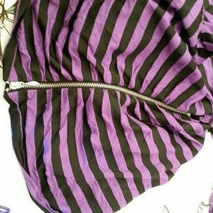Allie & Rob Tops - Allies & Rob Purple Black Striped Zipper Stretch